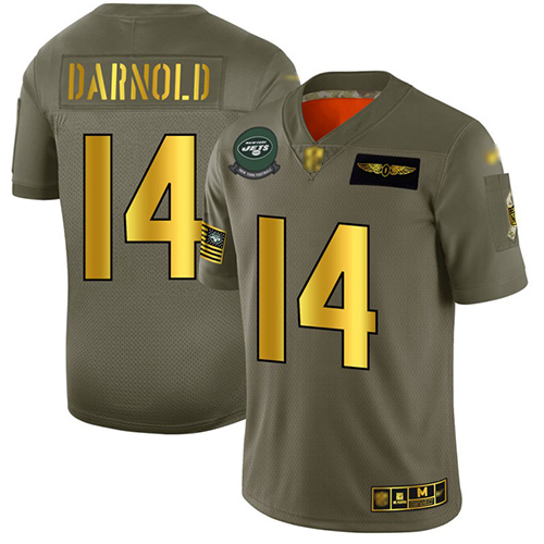 Jets #14 Sam Darnold Camo Gold Men's Stitched Football Limited 2019 Salute To Service Jersey