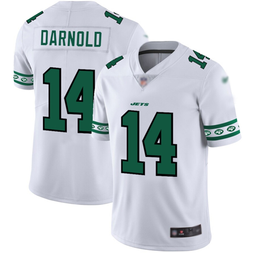 Jets #14 Sam Darnold White Men's Stitched Football Limited Team Logo Fashion Jersey