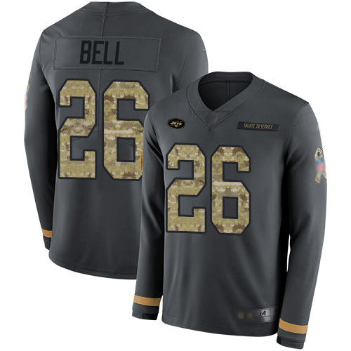 Jets #26 Le'Veon Bell Anthracite Salute to Service Men's Stitched Football Limited Therma Long Sleeve Jersey