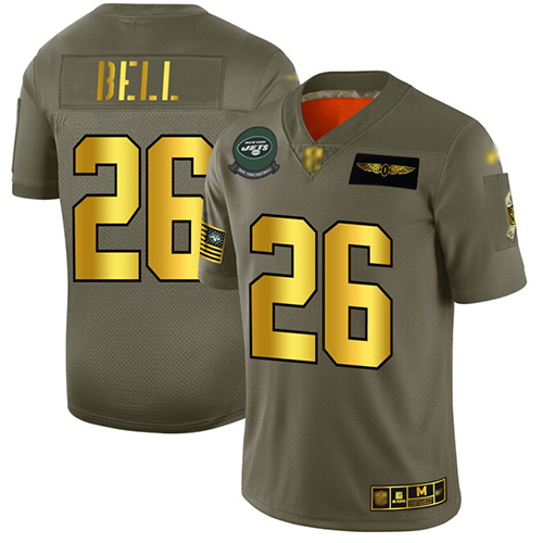 Jets #26 Le'Veon Bell Camo Gold Men's Stitched Football Limited 2019 Salute To Service Jersey