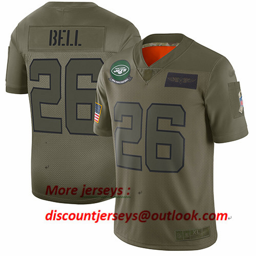 Jets #26 Le'Veon Bell Camo Youth Stitched Football Limited 2019 Salute to Service Jersey