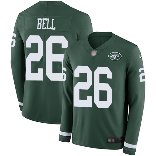Jets #26 Le'Veon Bell Green Team Color Men's Stitched Football Limited Therma Long Sleeve Jersey