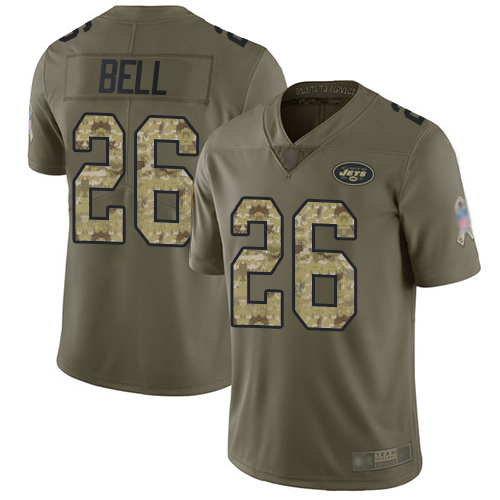 Jets #26 Le'Veon Bell Olive Camo Men's Stitched Football Limited 2017 Salute To Service Jersey
