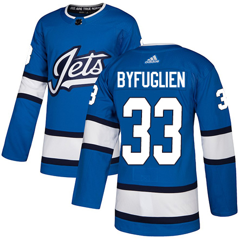 Jets #33 Dustin Byfuglien Blue Alternate Authentic Stitched Hockey Jersey