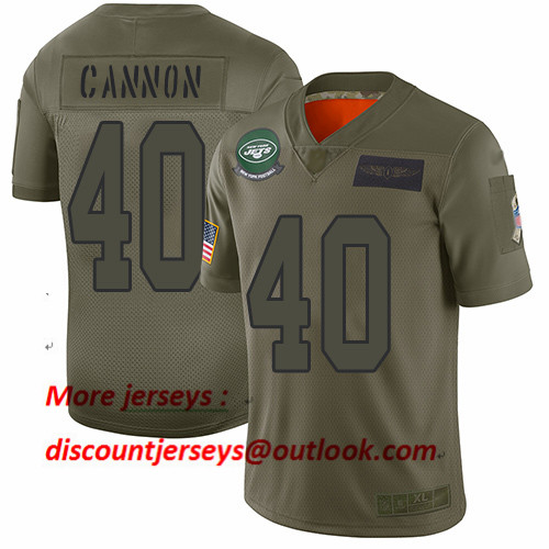 Jets #40 Trenton Cannon Camo Men's Stitched Football Limited 2019 Salute To Service Jersey