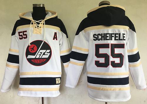 Jets #55 Mark Scheifele White Sawyer Hooded Sweatshirt Stitched NHL Jersey