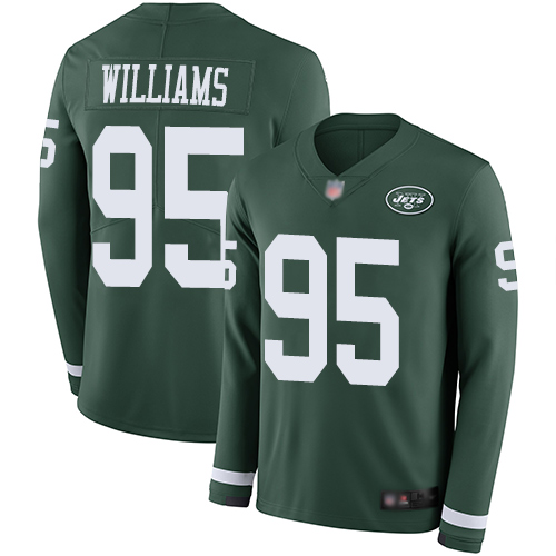 Jets #95 Quinnen Williams Green Team Color Men's Stitched Football Limited Therma Long Sleeve Jersey