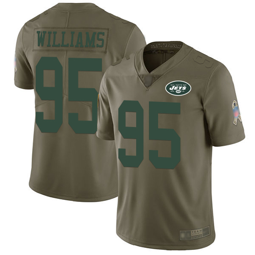 Jets #95 Quinnen Williams Olive Men's Stitched Football Limited 2017 Salute To Service Jersey