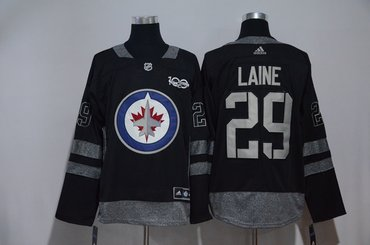 Jets 29 Patrik Laine Black 100th Anniversary Adidas Jersey