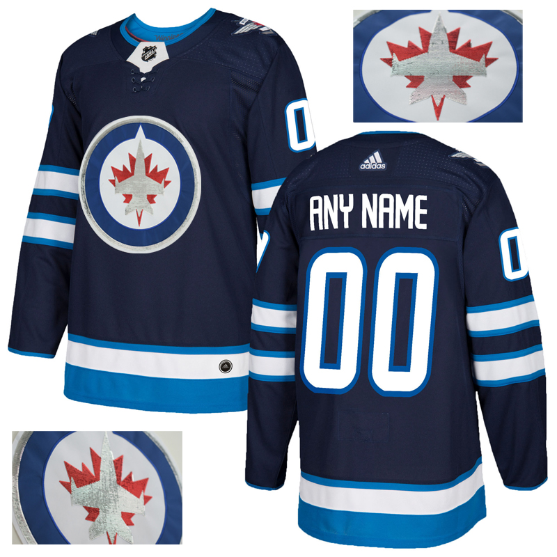 Jets Men's Customized Navy With Special Glittery Logo Adidas Jersey