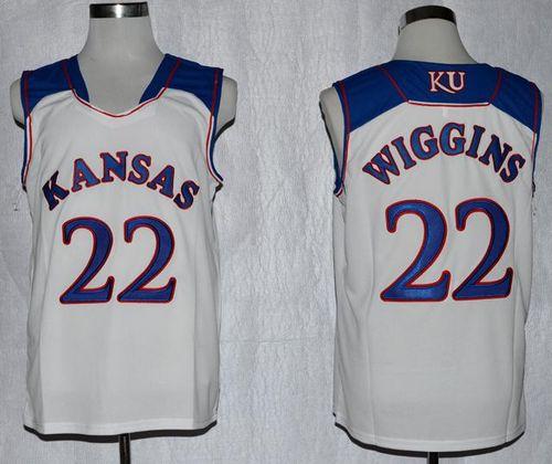 Kansas Jayhawks #22 Andrew Wiggins White Basketball Stitched NCAA Jersey