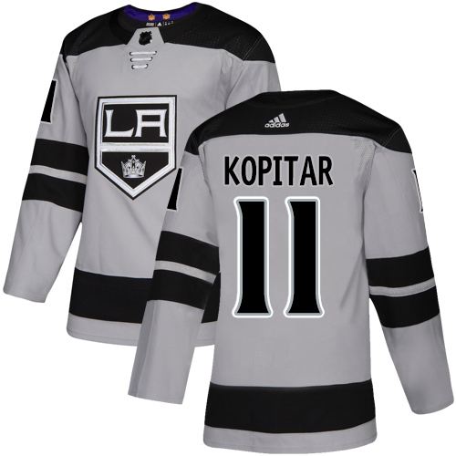 Kings #11 Anze Kopitar Gray Alternate Authentic Stitched Hockey Jersey