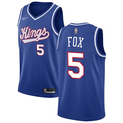 Kings #5 De'Aaron Fox Blue Basketball Swingman Hardwood Classics Jersey