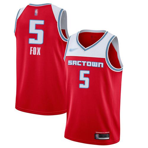 Kings #5 De'Aaron Fox Red Basketball Swingman City Edition 2019 20 Jersey