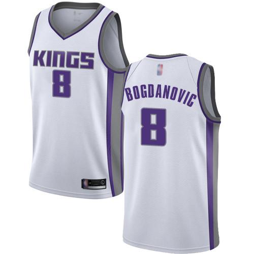 Kings #8 Bogdan Bogdanovic White Basketball Swingman Association Edition Jersey
