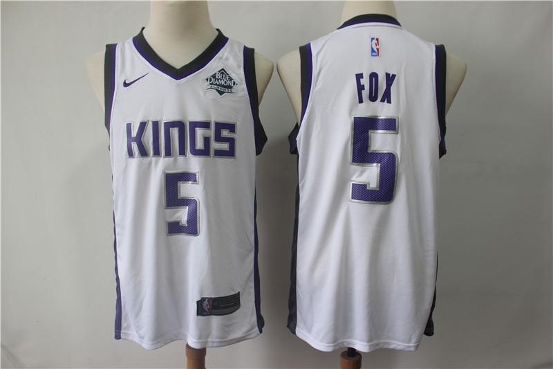 Kings 5 De'Aaron Fox White Nike Swingman Jersey