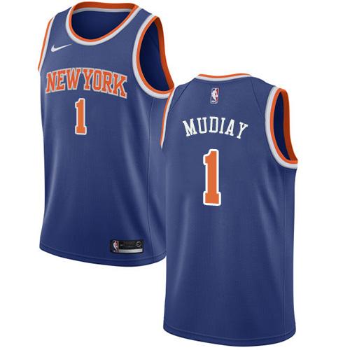 Knicks #1 Emmanuel Mudiay Blue Basketball Swingman Icon Edition Jersey