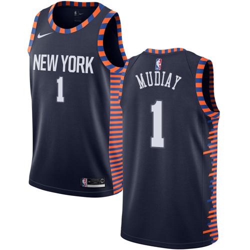 Knicks #1 Emmanuel Mudiay Navy Basketball Swingman City Edition 2018 19 Jersey