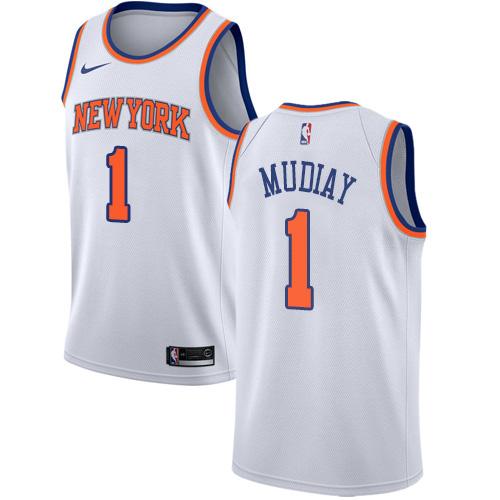 Knicks #1 Emmanuel Mudiay White Basketball Swingman Association Edition Jersey