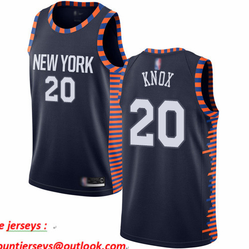 Knicks #20 Kevin Knox Navy Basketball Swingman City Edition 2019 20 Jersey