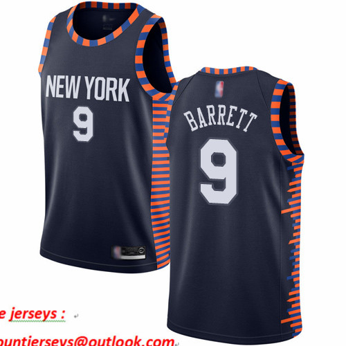 Knicks #9 R.J. Barrett Navy Basketball Swingman City Edition 2019 20 Jersey
