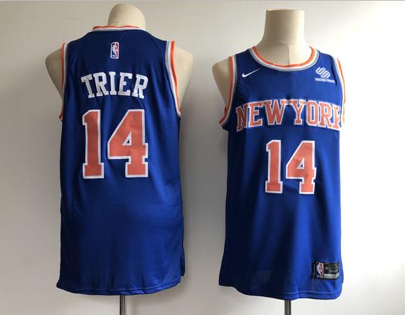 Knicks 14 Allonzo Trier Blue Nike Swingman Jersey
