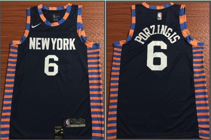 Knicks 6 Kristaps Porzingis Navy 2018-19 City Edition Nike Swingman Jersey