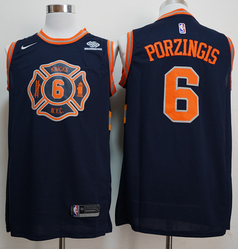 Knicks 6 Kristaps Porzingis Navy City Edition Nike Swingman Jersey