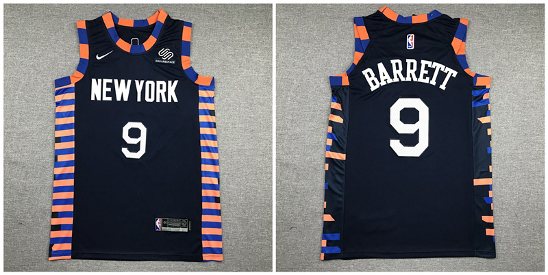 Knicks 9 R.J. Barrett Navy City Edition Nike Authentic Jersey
