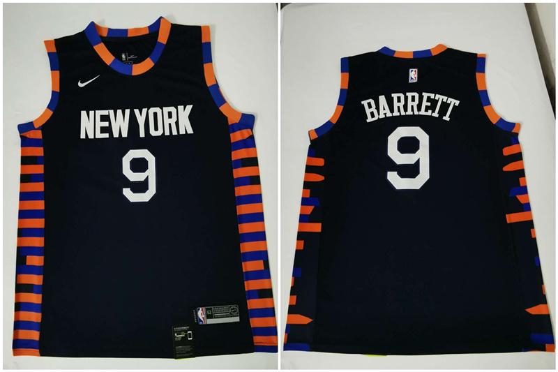 Knicks 9 R.J. Barrett Navy City Edition Nike Swingman Jersey