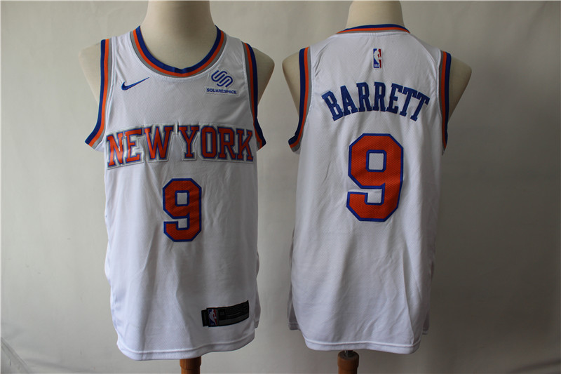 Knicks 9 R.J. Barrett White City Edition Nike Swingman Jersey