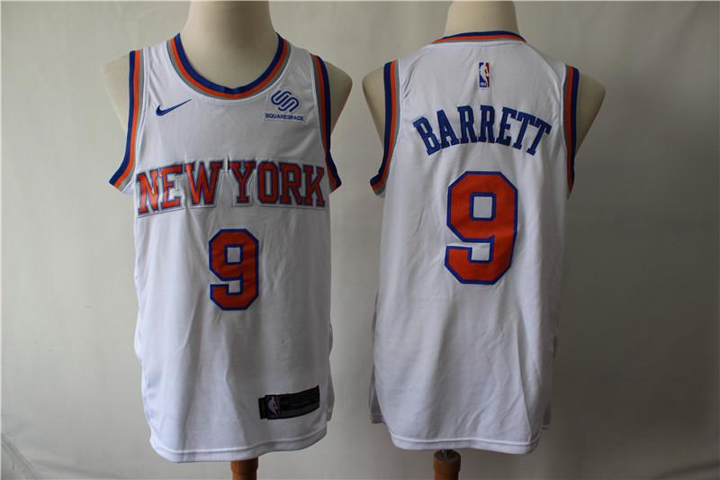 Knicks 9 R.J. Barrett White City Edition Nike Swingman Jersey