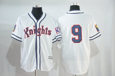 Knights #9 White Stitched Movie Baseball Jersey
