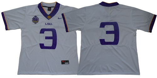 LSU Tigers #3 Odell Beckham Jr White 125 Seasons Limited Stitched NCAA Jersey