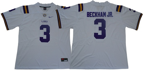 LSU Tigers #3 Odell Beckham Jr White Limited Stitched NCAA Jersey