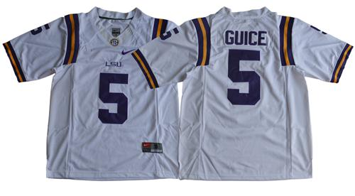 LSU Tigers #5 Derrius Guice White Limited Stitched NCAA Jersey