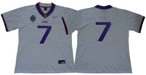 LSU Tigers #7 White 125 Seasons Limited Stitched NCAA Jersey