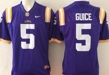 LSU Tigers 5 Derrius Guice Purple College Football Jersey