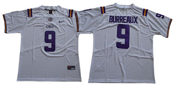 LSU Tigers 9 Joe Burreaux White Nike College Football Jersey