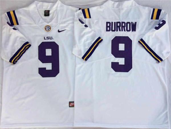 LSU Tigers 9 Joe Burrow White Nike College Football Jersey