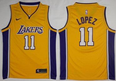 Lakers #11 Brook Lopez Gold NBA Swingman Nike Jersey