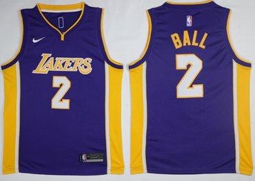 Lakers #2 Lonzo Ball Purple NBA Swingman Nike Jersey
