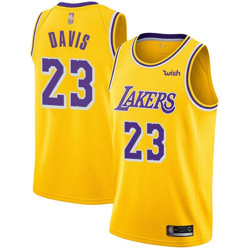 Lakers #23 Anthony Davis Gold Basketball Swingman Icon Edition Jersey