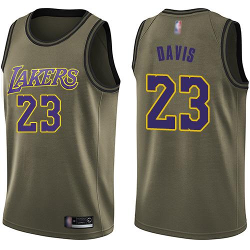 Lakers #23 Anthony Davis Green Salute to Service Basketball Swingman Jersey
