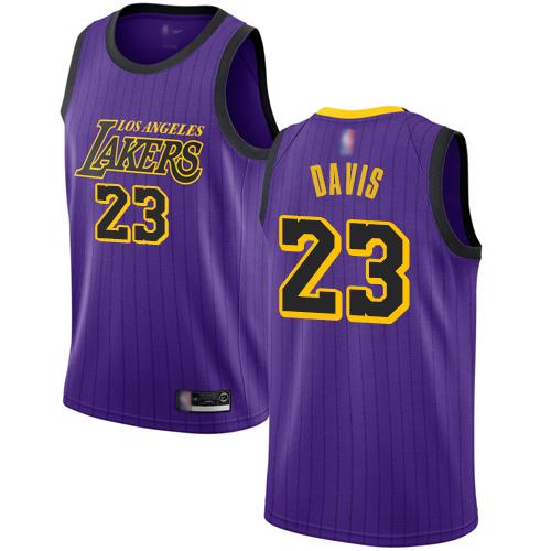 Lakers #23 Anthony Davis Purple Basketball Swingman City Edition 2018 19 Jersey