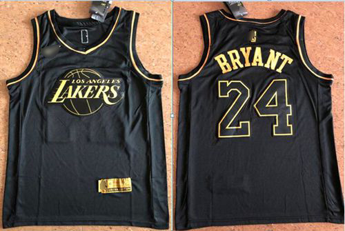 Lakers #24 Kobe Bryant Black Gold Basketball Swingman Limited Edition Jersey
