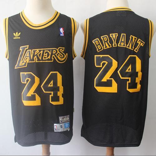 Lakers #24 Kobe Bryant Black Throwback Stitched Basketball Jersey