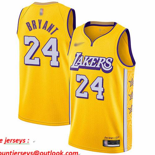 Lakers #24 Kobe Bryant Gold Basketball Swingman City Edition 2019 20 Jersey
