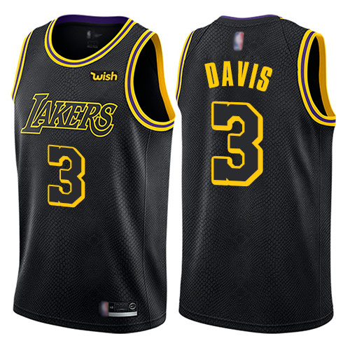 Lakers #3 Anthony Davis Black Basketball Swingman City Edition Jersey