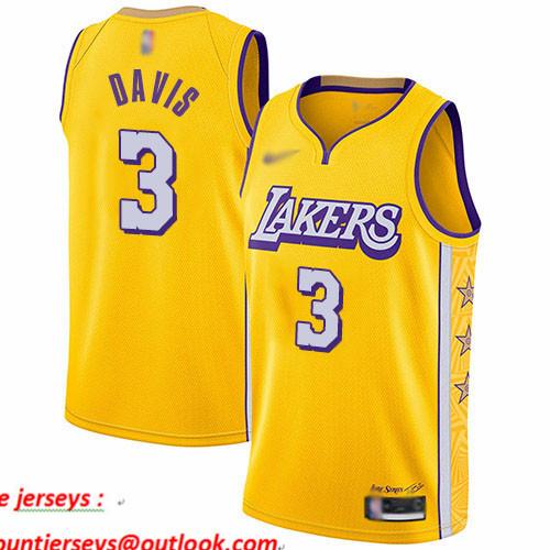 Lakers #3 Anthony Davis Gold Basketball Swingman City Edition 2019 20 Jersey